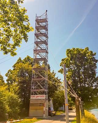 Baustellen-Webcam auf Gerüstturm